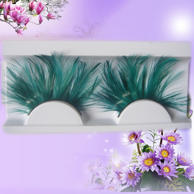 3 Pairslot Green White Two Colors Trendy Feather Flare Eyelashes