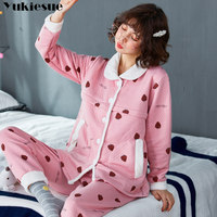 Flannel Winter Women's Pajamas Pajama Set Home Wear Long Sleeve Cartoon Pijama Set Sleepwear Women Pyjamas Plus size pink blue