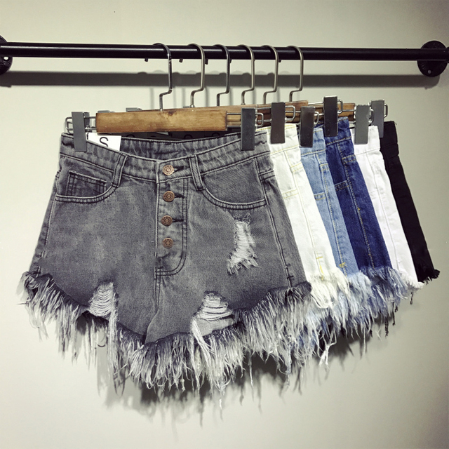 female fashion casual summer cool women denim Shorts high waists fur-lined leg-openings Plus size sexy short Jeans 1