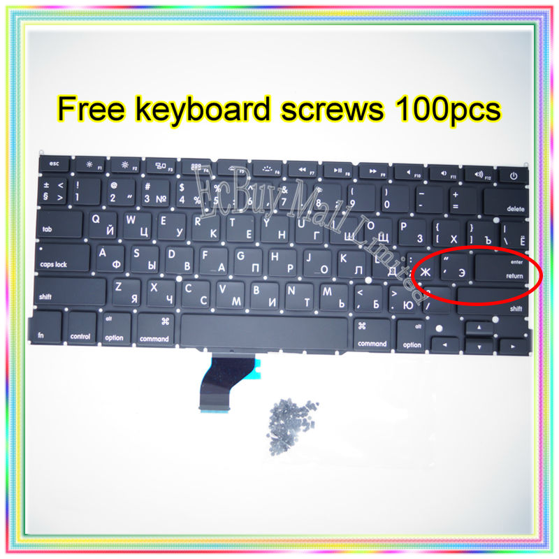 """Brand New For MacBook Pro Retina 13.3 inch"""" A1502 Small Enter RS Russian keyboard+10keyboard screws 2013-2015 Years"""""""