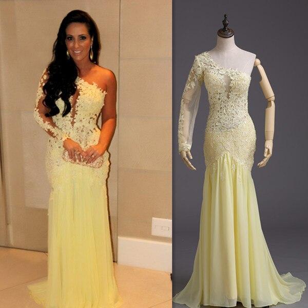 072b43e97bc vestidos de festa vestido longo Moda Amarelo Manga Longa de Renda claro  costas formatura vestido sereia