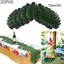 12pcs Artificial Plant Fake Palm Leaves Plastic Tree Luau Jungle Party Bladeren Plantas Tropical Para Wedding Decoracion