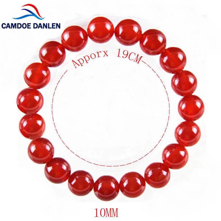 อินเทรนด์ AAA Carnelian สร้อยข้อมือผู้หญิงผู้ชายเครื่องประดับ 6/8/12/14/16 มม. ลูกปัดหินสีแดงสร้อยข้อมือและกำไลข้อมือ Bijoux Homme Erkek Bileklik