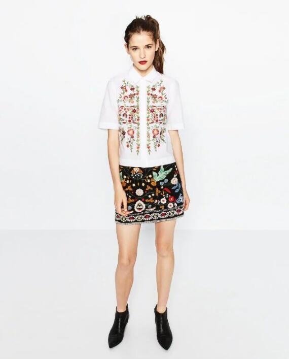 Women Embroidered Skirt Vintage Pencil Short High Waist Bohemian Mini Casual New