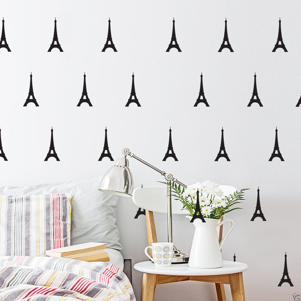 Little Eiffel Tower Decal 56 Pcs Removable Diy Wall Stickers Vinyl