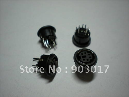 Mini 4 Pin or 6 Pin 8 Pin Circular PCB Mount DIN Connector 30 Pcs Per Lot