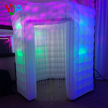 2.5m Two Doors Nice Octagon Inflatable Photo Booth backdrop With LED lights and Inner Air blower Tent For Wedding, Party, Event 7 3ft inflatable photo booth party backdrops with led lights no equipment portable inflatable cabin tent wedding backdrop sales