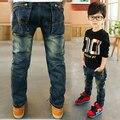 Мальчики джинсы 2017 Весной и осенью детская одежда дети Мода дикие прямые брюки большие девственные мальчик брюки джинсы молния
