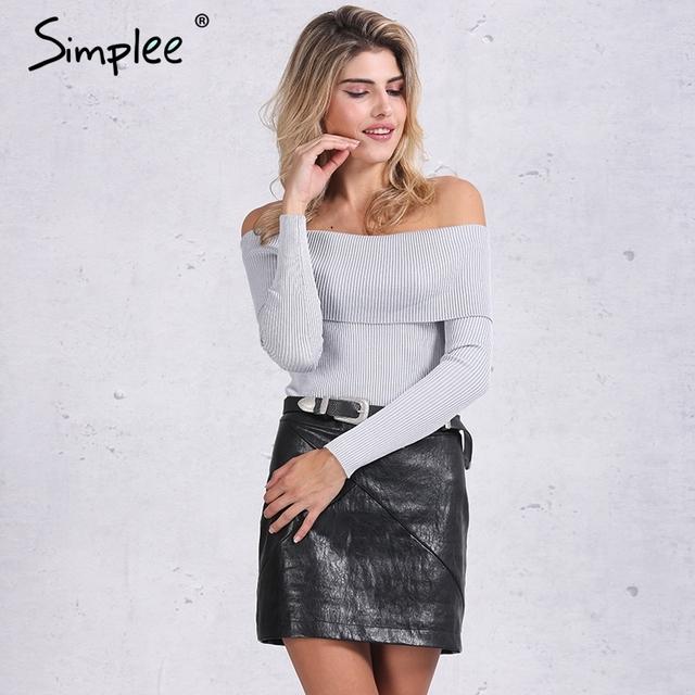 Simplee alças elastic camisola de inverno mulheres Curto cinza lapela malhas jumpers pullover sexy white bodycon Outono básico top