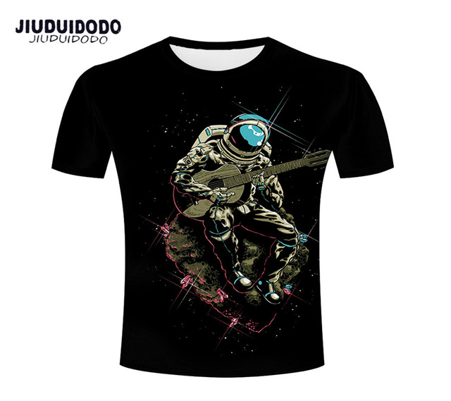 Mens Summer T Shirts Fashion Vintage Astronaut In Space Dead Spacesuit And Geometric Element