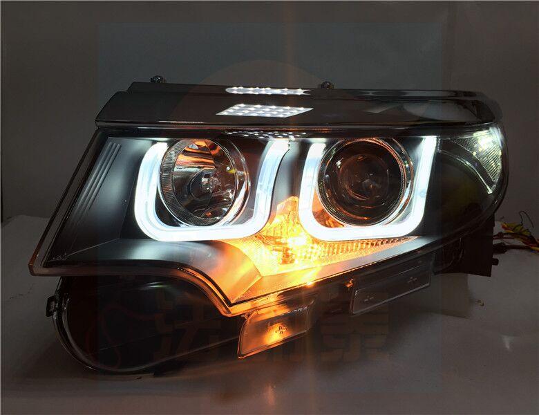 Fett Lights For Ford Edge Led Headlights   Bi Xenon Lens Double U Led Drl
