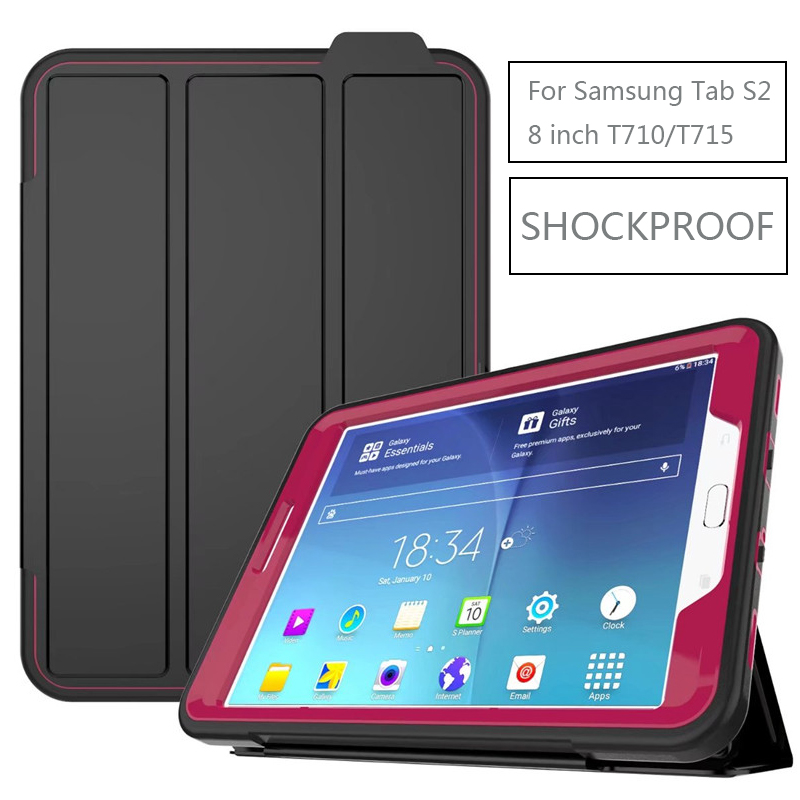 Smart Shockproof Armor Case for Samsung Galaxy Tab S2 8.0 T710 T715 SM-T710 SM-T715 Luxury Flip Stand Magnetic Wake Sleep Cover