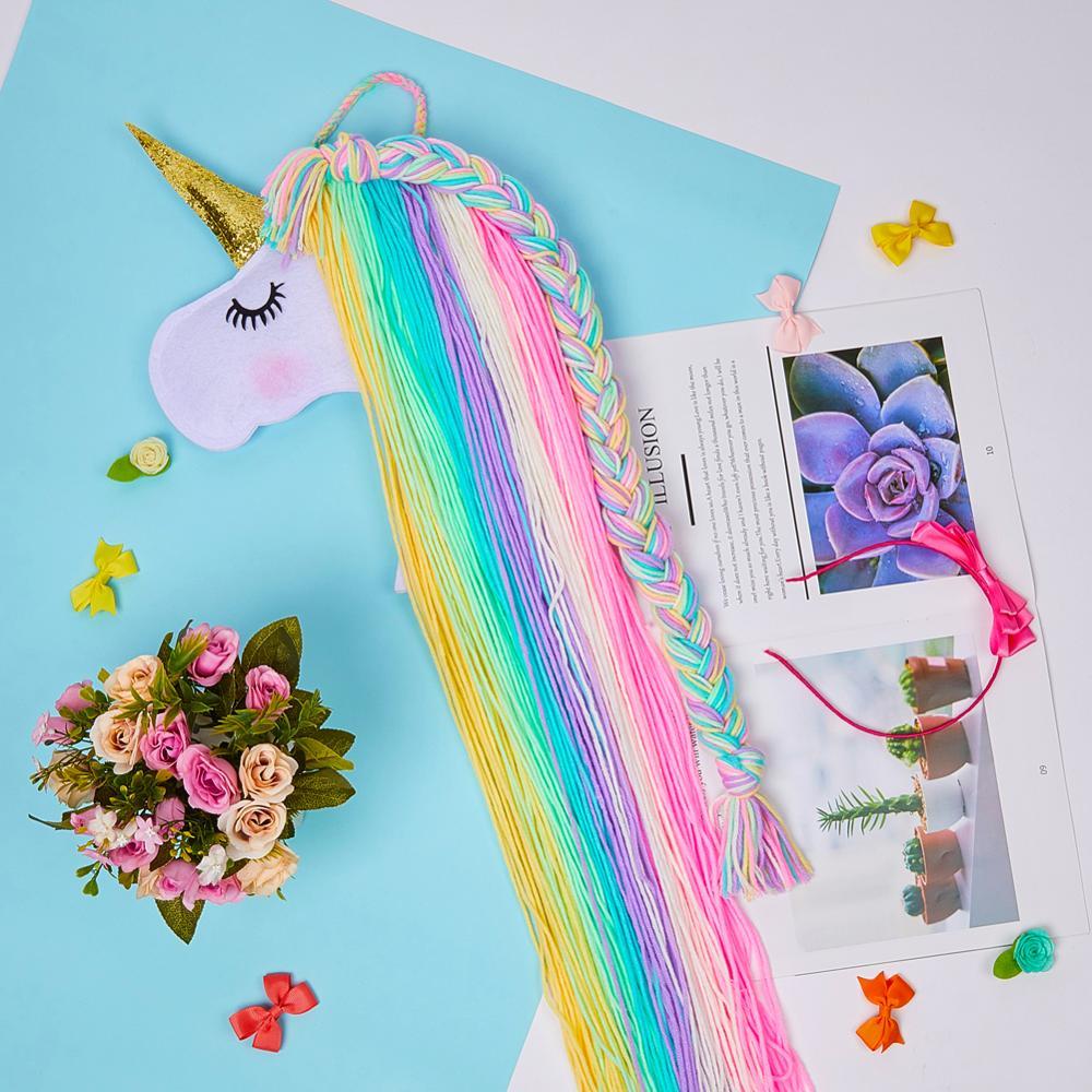 Unicorn Storage Organizer Strip Hair Clips Headwear Organizing Strip Hanger Wall Hair Bows Storage Belt Girl Hair Accessories