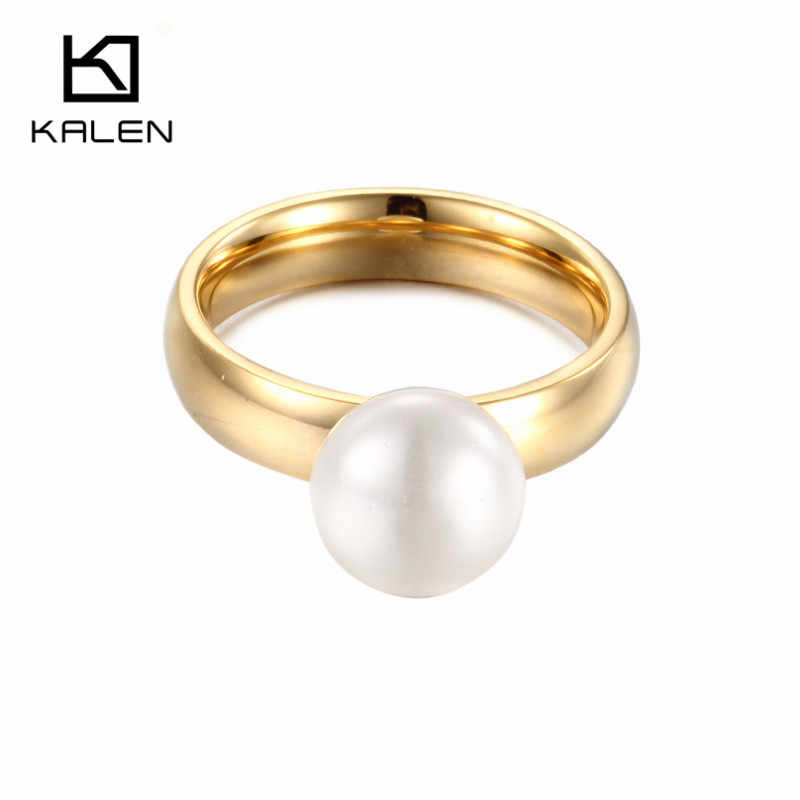 Kalen Fashion Anillos Mujer White Simulated-Pearl Rings For Women Gold Stainless Steel Wedding Bands Finger Rings Women Jewelry