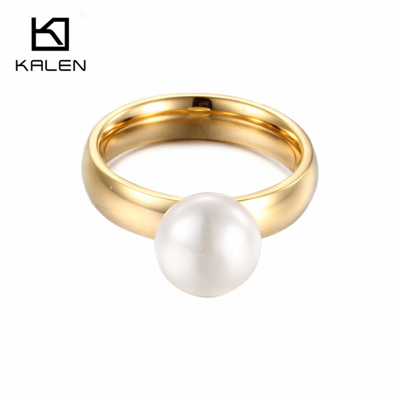 Kalen Fashion Anillos Mujer White Simulated-Pearl Rings For Women Gold Stainless Steel Wedding Bands Finger Rings Women Jewelry(China)