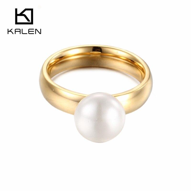 Kalen New Gold Color Finger Rings Imitation Pearl Fake