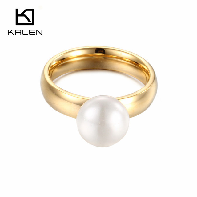 Kalen New Gold Color Finger Rings Imitation Pearl Fake Wedding Rings