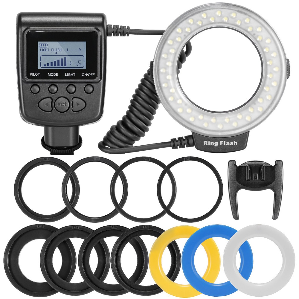 RF-550D 48pcs Macro LED Ring Flash Bundle with 8 Adapter Ring for Canon Nikon Pentax Olympus Panasonic DSLR SLR Camera one pair high quality motorcycle cbr1000rr front floating brake disc rotor for honda cbr1000rr cbr 1000rr cbr 1000 rr 2004 2005