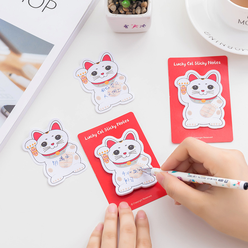 Kawaii Lucky Cat Post it Planner Stickers Scrapbooking Sticky Notes Memo Pad Notepad For Office Cute Stationery Papeleria 40set memo pads sticky notes kawaii cute animals box paper notepad daliy scrapbooking stickers office school stationery bookmark