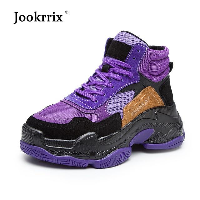 Jookrrix повседневная женская обувь модные брендовые кроссовки на платформе высокие дамские chaussure осень, для женщин обувь из натуральной кожи botas