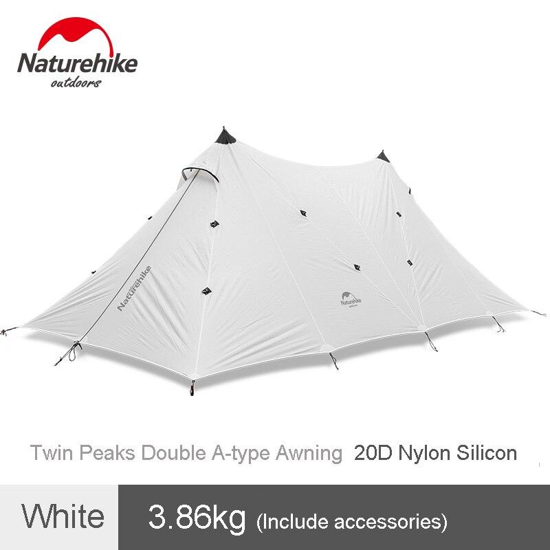 Naturehike Camping al aire libre de doble-capa tienda 20D del tipo Twin Peaks toldo impermeable Canopy