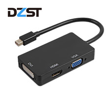 DZLST Mini DP HDMI DVI VGA adaptörü 3 In 1 Hub Mini DisplayPort 1080P Video Adaptörü Dönüştürücü iMac apple macbook pro air(China)