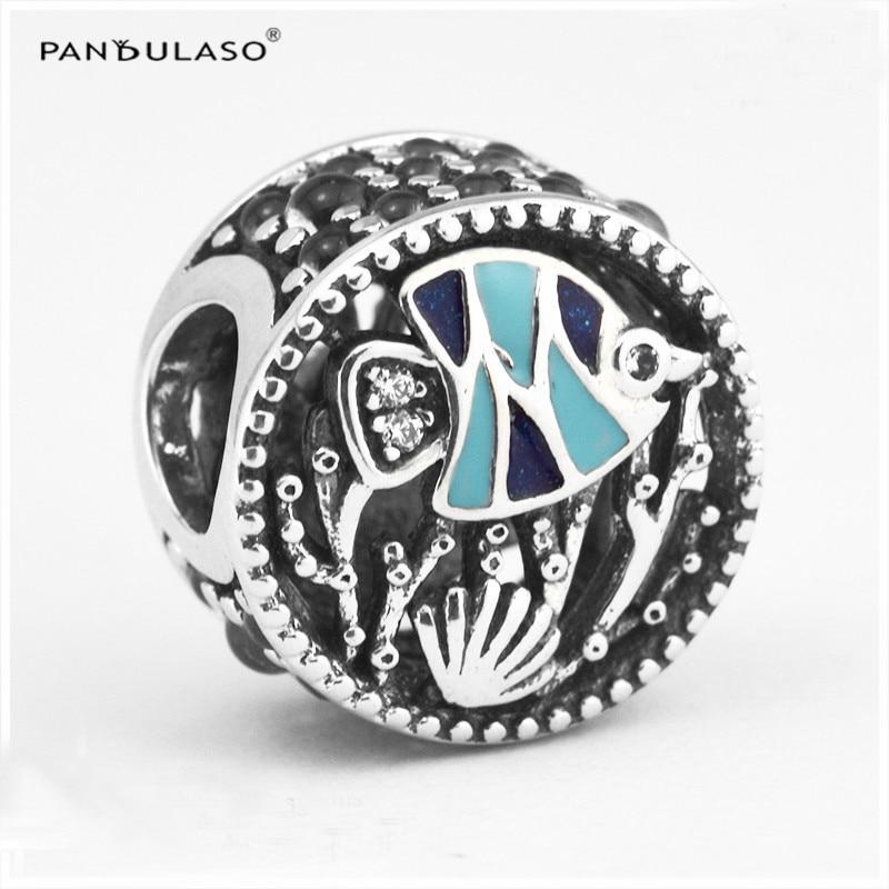 Pandulaso Océan D'été Vie Poissons Cristal Perles pour le BRICOLAGE Fabrication De Bijoux en Forme Charms Argent 925 D'origine Bracelets & Bangles Femmes