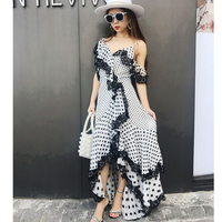 2018 High Quality One Shoulder Polka Dot Ruffle Irregular Boutique Sexy Woman Lace Dress Casual Holiday Beach Party Long Dress
