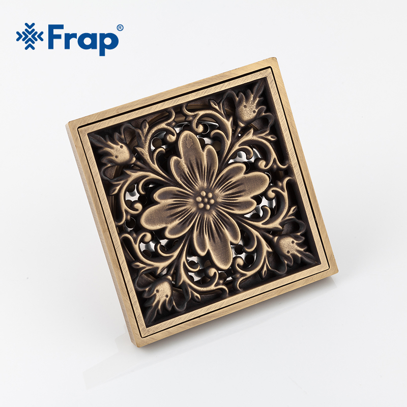 Frap Shower Drains 10*9.5cm Square Bath Drains Strainer Hair Antique Brass Carved Bathroom Floor Drain Waste Grate Drain Y81009