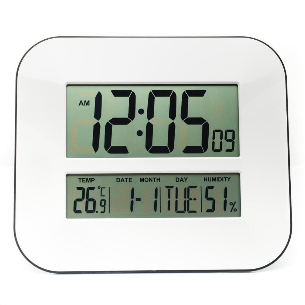 DCF זמן מבוקרת RCC שעון קיר דיגיטלי עם טמפרטורה מד טמפרטורה לחות היגרומטר / שולחן דקורטיבי שעון מעורר