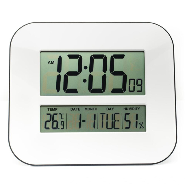DCF Radio Controlled Time RCC Digital Wall Clock with Temperature