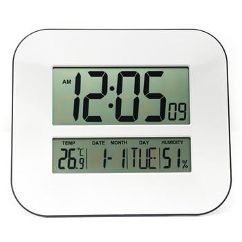 DCF Radiogestuurde Tijd RCC Digitale Wandklok met Thermometer Hygrometer/Decoratieve Tafel Wekker