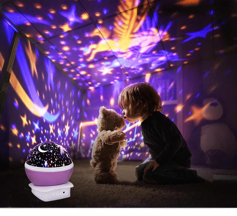 Сверкающий светящийся игрушки Единорог звездное небо светодиодный свет сна проектор батарея USB ночник творческие игрушки на день рождения для детей
