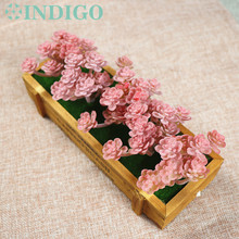 INDIGO (5 Plants+1Tray /set ) Bonsai Red Flowers Artificial Succulent Plant Plastic Flower Table DecorationFree Shipping
