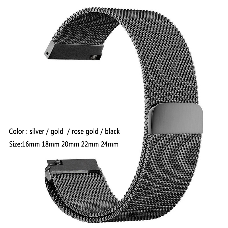 Mesh Milanese Loop Watchbands 16mm 18mm 20mm 22mm 24mm Silver Rose Gold Black Bracelet Wrist Watch Band Strap Magnetic Closure mesh milanese loop watchbands 16mm 18mm 20mm 22mm 24mm silver rose gold black bracelet wrist watch band strap magnetic closure