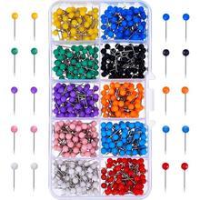 Нажимные булавки 600-количество карта тактики маркировочные булавки 1/8-дюймовые пластиковые бусины голова, со стальной точкой 10 разных цветов