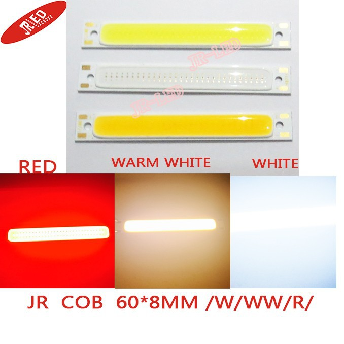 5PCS Red /warm white/white/Blue Color LED COB Source Bar chip diodes2.5W / 5W LED COB strip  low voltage 3V For DIY light 50w 25 led red