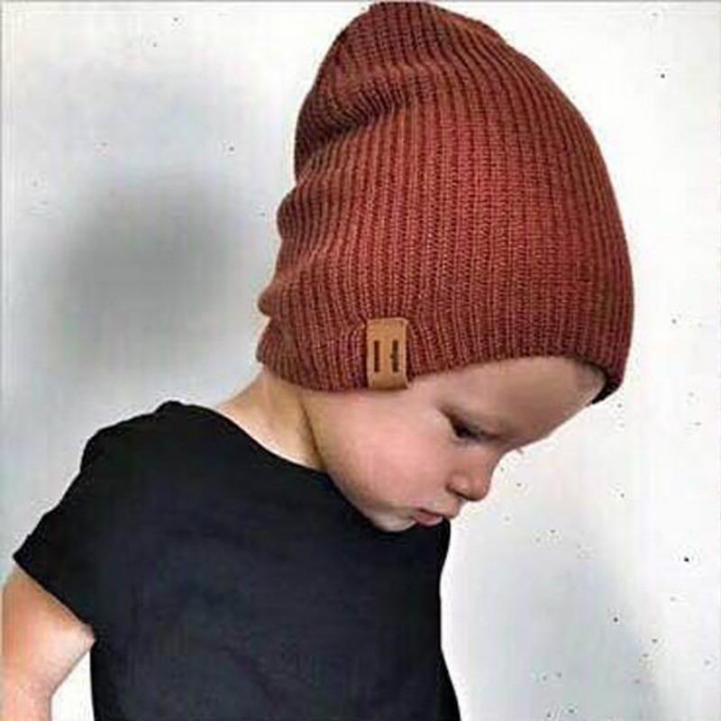 New Kids Winter Hat Girl Boy Baby Soft Warm Beanie Cap  Elasticity Knit Hats Children Casual Ear Warmer Cap bonnet crochet