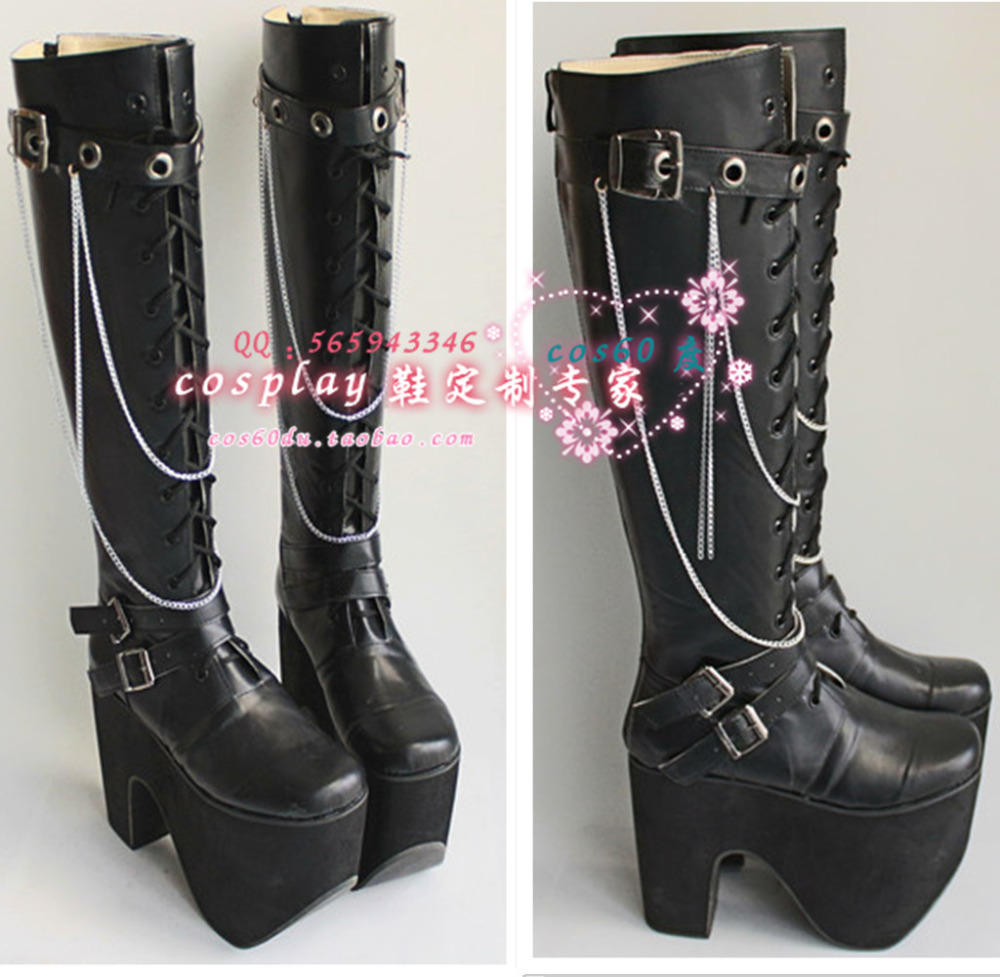High Boots Black Sweet Lolita Shoes Women Girls 15CM Cosplay Shoes S008 босоножки sweet shoes sweet shoes sw010awtbr38