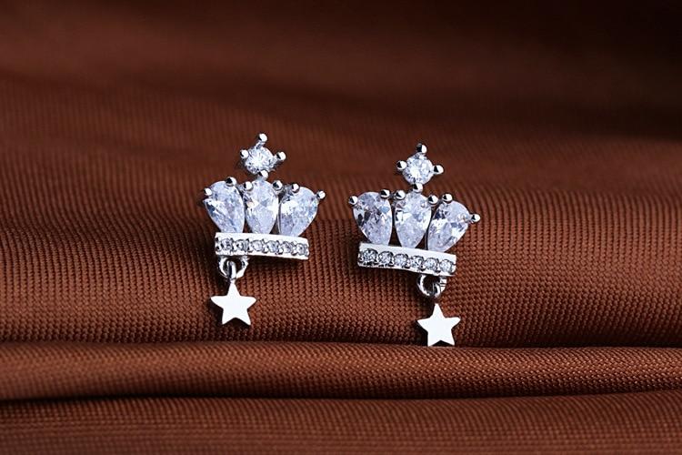 Новые ювелирные изделия из серебра 925 пробы, Подлинная Корона, австрийские каплевидные серьги с кристаллами из австрийских дам, модные серь...