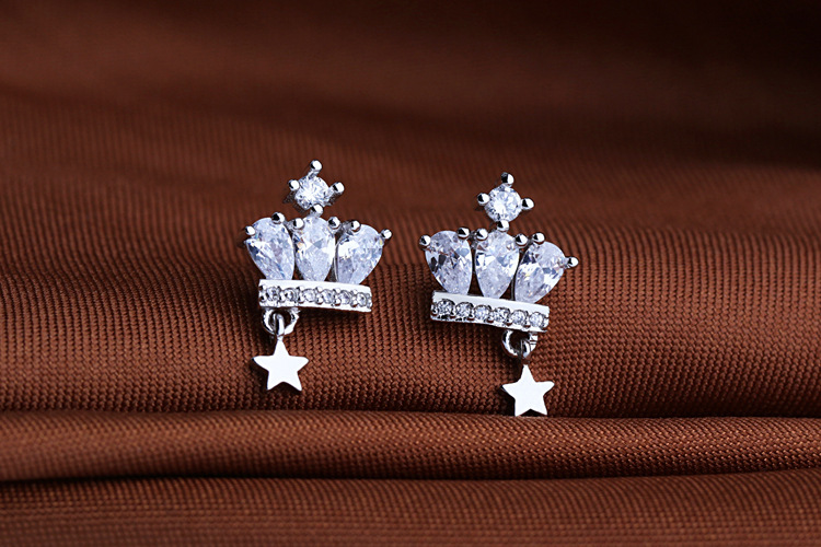 NEW 925 Silver Jewelry Authentic Crown Austria Teardrop Shaped Crystal Earrings Crystal From Swarovskis Ladies Fashion Earrings