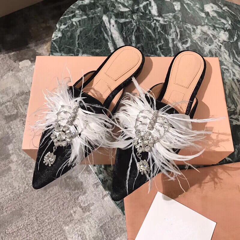Hanbaidi Mewah Berlian Imitasi Wanita Sandal Mode Beludru Bulu Kaki - Sepatu Wanita - Foto 3