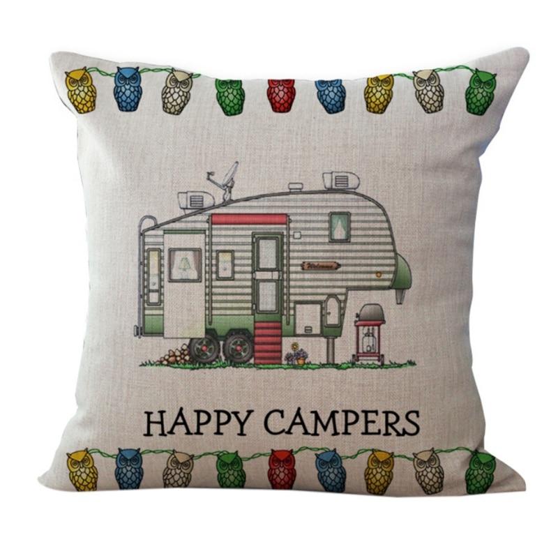 45*45cm Home Square Cotton Linen Cute Vintage Camper Travel Trailer Home Decorative Soft Cool Throw Pillow Case