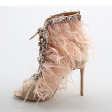 KAEVE Kid Suede Feather Women Sandals Peep toe high heels pink black women Jewel shoes cross strap Gladiator sandalias mujer