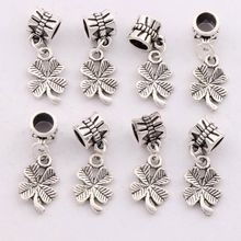 Shamrock Four Leaf Clover Charm Beads Fit European Bracelets Jewelry DIY B318 18pcs 26.4×10.3mm Antique Silver/Gold