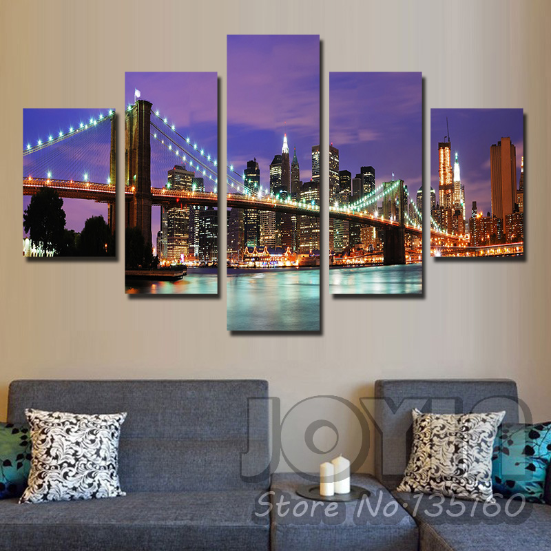 Buy 5 pieces wall art new york city night for Modern decorative pieces