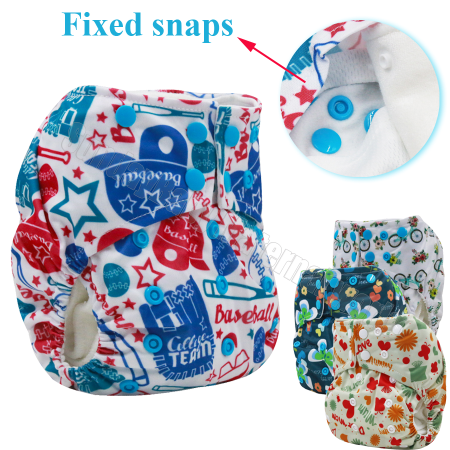 Digital pattern reusable baby diapers AI2 washable diapers Mesh Cold Yarn inner baby cloth diaper bamboo