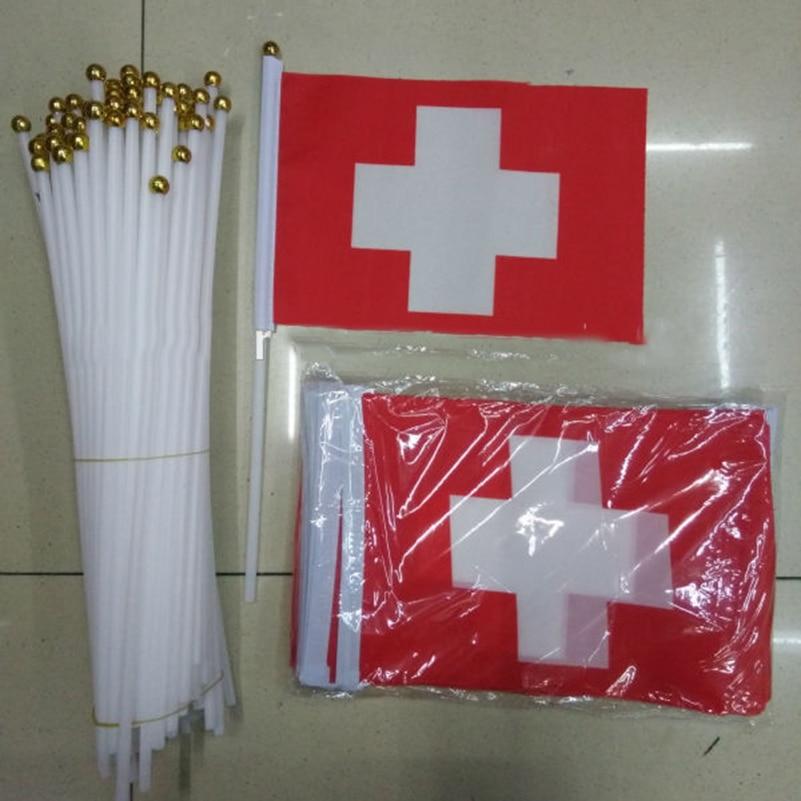 5pcs Promotion Wholesale Small Switzerland Hand Waving National Flag 14*21cm #8 Polyester Swiss Flag