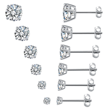 Angel girl fashion 3-8mm 6 sizes round cubic zirconia silver color stud earrings for women unisex free shipping
