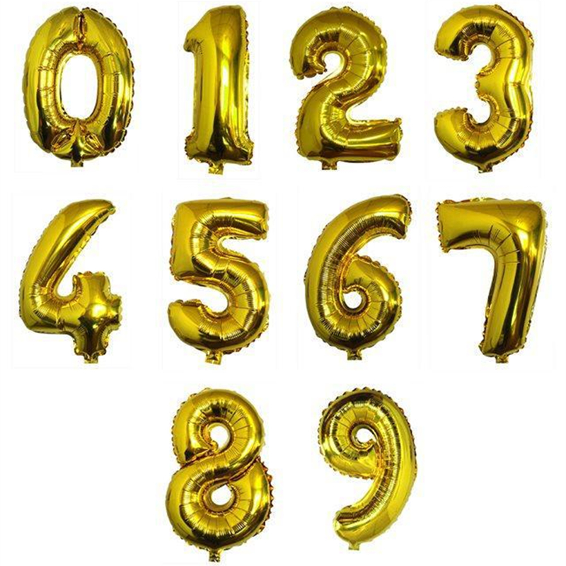 16 Inch Big Foil Birthday Balloons Air Helium Number Balloon Figures Happy Birthday Party Decorations Kid Baloons Birthday Balon